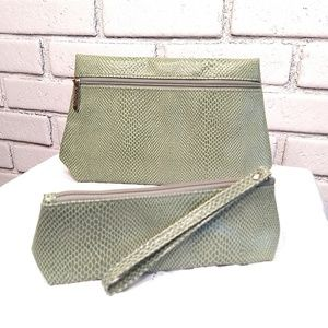 Clinique Makeup Pouch Set of Two Green